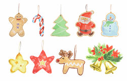 Watercolor christmas toys set. Bright and colorful toys for christmas tree. Candies, bells, stars and gingerbreads Stock Photo