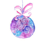 Watercolor Christmas tree ball with a ribbon on a white background Royalty Free Stock Image