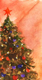 Watercolor Christmas tree with balls and garland Royalty Free Stock Image