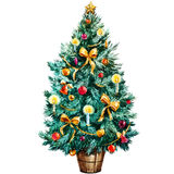 Watercolor Christmas tree Stock Images