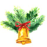 Watercolor Christmas tree branch and bell. Hand painted fir element isolated on white background. Watercolor Christmas tree branch with gold bell. Hand painted Royalty Free Stock Images