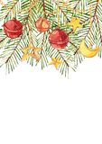 Watercolor Christmas tree branches with a crescent, a star and bells hang on gold chains. Colored vertical rectangle Royalty Free Stock Photo