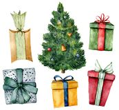 Watercolor Christmas tree with gifts. Hand painted New Year tree with toys and lights, gift boxes with bow isolated on stock illustration