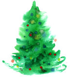 Watercolor Christmas tree isolated Royalty Free Stock Photography