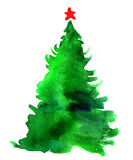 Watercolor Christmas tree isolated Stock Photos