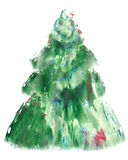 Watercolor Christmas tree isolated on a white background. Texture paper. New year and Christmas card template.  Stock Photography