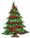 Watercolor Christmas tree isolated on white background. Stock Images