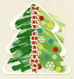 Watercolor Christmas tree . Royalty Free Stock Photo