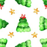 Watercolor Christmas tree seamless pattern royalty free illustration