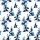 Watercolor christmas tree seamless pattern. Watercolour winter fir forest. Hand painted pine tree illustration on white background Royalty Free Stock Photo