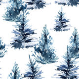 Watercolor christmas tree seamless pattern. Watercolour winter fir forest. Hand painted pine tree illustration on white background Stock Photography