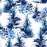 Watercolor christmas tree seamless pattern. Winter fir forest and watercolour brush strokes . Hand painted pine tree illustration on white background Stock Photos