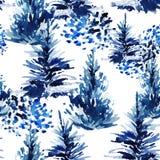 Watercolor christmas tree seamless pattern. Stock Photos