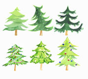 Watercolor christmas tree set. Royalty Free Stock Photos