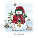 Watercolor Christmas Tree with snowman, bunny, lamp and gift. Holiday Decoration Print Design Template. Handdrawn card. Watercolor Christmas Tree with snowman vector illustration