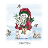 Watercolor Christmas Tree with snowman, bunny, lamp and gift. Holiday Decoration Print Design Template. Handdrawn card with text. Christmas Tree with snowman vector illustration