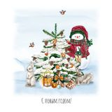Watercolor Christmas Tree with snowman, bunny, lamp and gift. Holiday Decoration Print Design Template. Handdrawn card. With text stock illustration