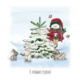 Watercolor Christmas Tree with snowman, bunny, lamp and gift. Holiday Decoration Print Design Template. Handdrawn card. With text royalty free illustration