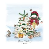 Watercolor Christmas Tree with snowman, bunny, lamp and gift. Holiday Decoration Print Design Template. Handdrawn card with text. Watercolor Christmas Tree with stock illustration