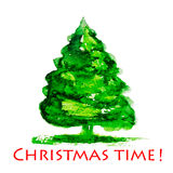 Watercolor Christmas tree Stock Photography