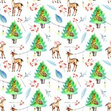 Watercolor Christmas trees, deers and festive garlands winter seamless pattern. Hand painted on a white background, celebratory winter design Stock Photography