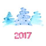 Watercolor Christmas trees Royalty Free Stock Photos