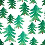 Watercolor Christmas trees seamless pattern. Winter watercolor landscape. Watercolor Christmas tree. Christmas background Stock Photography