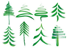 Watercolor Christmas Trees, Vector Set Stock Photography