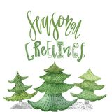 Watercolor christmas typography greeting with fir trees. New Year decoration for invitation, cards.  Stock Photos