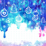 Watercolor Christmas vector illustration can be. Christmas vector illustration can be used as a greeting card royalty free illustration