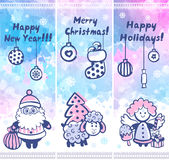 Watercolor Christmas vector set of banners can be Stock Images