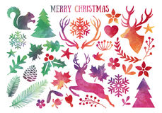 Watercolor Christmas, vector set. Watercolor Christmas, set of vector design elements Stock Image