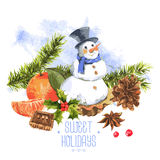 Watercolor Christmas vintage invitation card. With fir branches, cones snowman cupcakes holly and cinnamon, vector watercolor illustration Stock Images