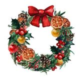 Watercolor Christmas wreath with christmas balls, pinecone misletoe and branches of Christmas trees stock images