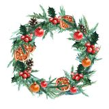 Watercolor Christmas wreath with christmas balls, pinecone, misletoe, oranges and branches of Christmas trees. vector illustration