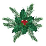 Watercolor. Christmas wreath with branches pine and red berries. stock illustration