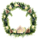 Watercolor christmas wreath card. Hand painted border with fir branches, garlands, pine cons and Christmas tree toy. Isolated on white background Stock Images