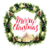Watercolor christmas wreath card with Merry Christmas lettering. Hand painted border with fir branches, garlands, pine Stock Images