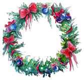 Watercolor Christmas wreath royalty free illustration