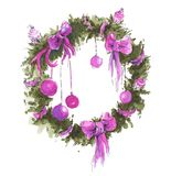 Watercolor christmas wreath stock illustration