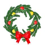 Watercolor Christmas wreath of fir branches with balls and a red bow. vector illustration