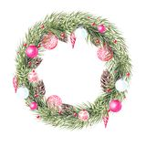 Watercolor Christmas wreath with fir branches, christmas toys. Illustration for greeting cards and invitations. Illustration royalty free stock photos