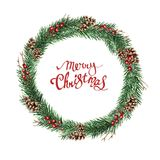 Fir wreath with cones, berries and merry christmas. Watercolor Christmas wreath of fir branches and cones on a white background with hand-drawn lettering Merry Stock Image