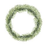 Watercolor Christmas wreath with fir branches. Illustration for greeting cards and invitations. Illustration stock photography