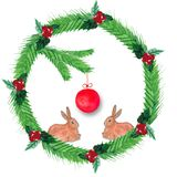 Watercolor Christmas wreath of fir branches, red berries, with a red ball and a two rabbit stock illustration