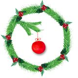Watercolor Christmas wreath of fir branches, red berries, with a red ball vector illustration