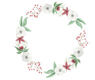 Watercolor Christmas Wreath Flower Arrangement Festive Jolly Floral Hand Painted Holidays Garland Stock Photography