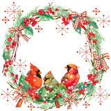 Watercolor Christmas wreath frame and bird. Stock Photography