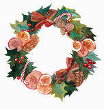 Watercolor Christmas wreath frame isolated on the white background Royalty Free Stock Image