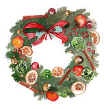 Watercolor Christmas wreath frame isolated on the white background Stock Photography